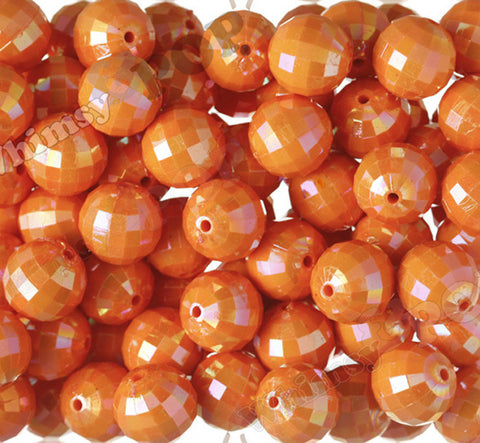 ORANGE 20mm Faceted AB Gumball Beads - WhimsyandPOP