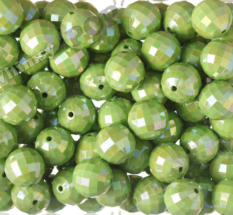 GREEN 20mm Faceted AB Gumball Beads - WhimsyandPOP