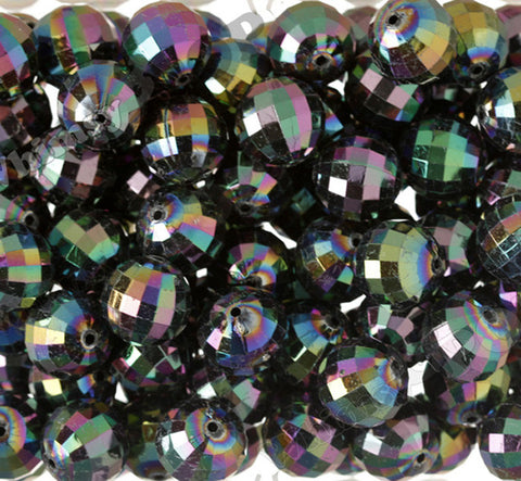 BLACK 20mm Faceted AB Gumball Beads - WhimsyandPOP