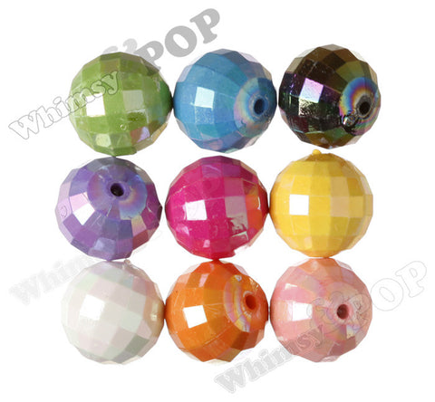 MIXED Color 20mm Faceted AB Gumball Beads - WhimsyandPOP