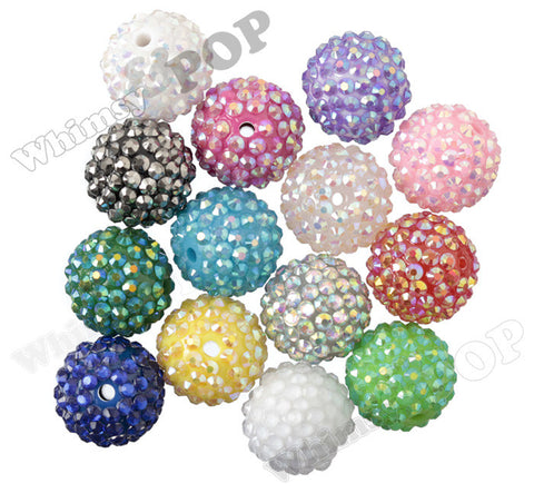 MIXED COLOR 20mm Crystal AB Rhinestone Gumball Beads - WhimsyandPOP