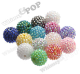 ORANGE + PURPLE + BLACK + GREEN 20mm Rhinestone Gumball Beads - WhimsyandPOP