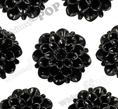 BLACK 20mm Dahlia Chrysanthemum Flower Cabochons - WhimsyandPOP