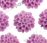 LILAC PURPLE 20mm Dahlia Chrysanthemum Flower Cabochons - WhimsyandPOP