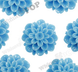 LIGHT BLUE 20mm Dahlia Chrysanthemum Flower Cabochons - WhimsyandPOP
