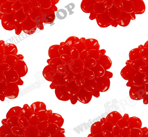 RED 20mm Dahlia Chrysanthemum Flower Cabochons - WhimsyandPOP