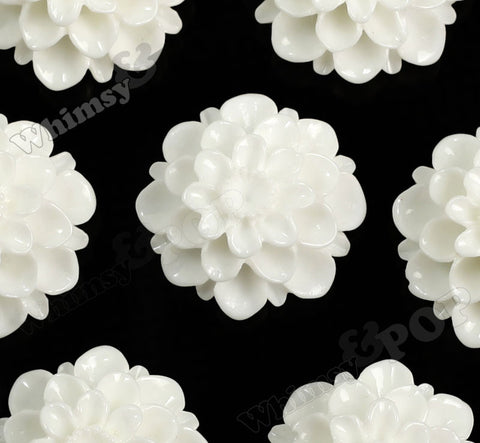 WHITE 20mm Dahlia Chrysanthemum Flower Cabochons - WhimsyandPOP