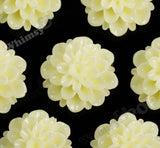YELLOW IVORY 20mm Dahlia Chrysanthemum Flower Cabochons - WhimsyandPOP