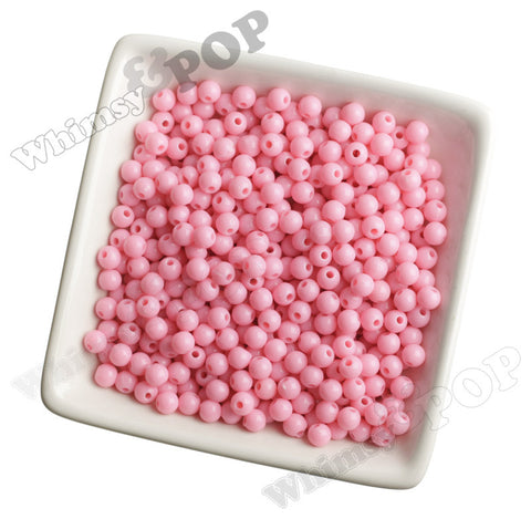 PINK 6mm Solid Gumball Beads