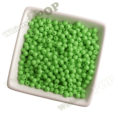 LIME GREEN 6mm Solid Gumball Beads