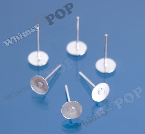 Silver Earring Post Blanks - 6mm Glue Pad