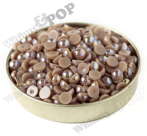 MOCHA BROWN 6mm AB Flatback Pearl Cabochons - WhimsyandPOP