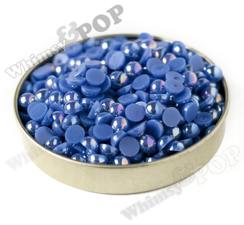 ROYAL BLUE 6mm AB Flatback Pearl Cabochons - WhimsyandPOP