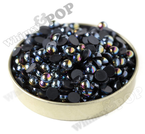 BLACK 6mm AB Flatback Pearl Cabochons - WhimsyandPOP