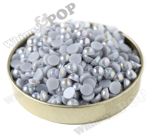 SILVER GRAY 6mm AB Flatback Pearl Cabochons - WhimsyandPOP