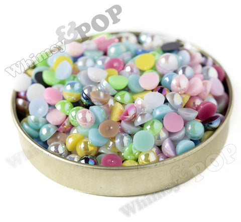MIXED Color 6mm AB Flatback Pearl Cabochons - WhimsyandPOP