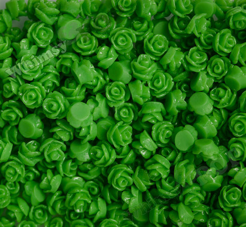 GREEN 7mm Teeny Tiny Flower Cabochons - WhimsyandPOP