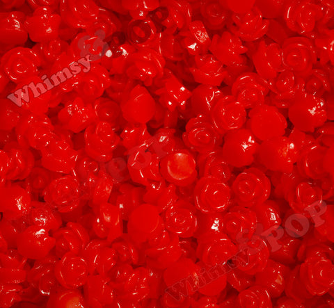 RED 7mm Teeny Tiny Flower Cabochons