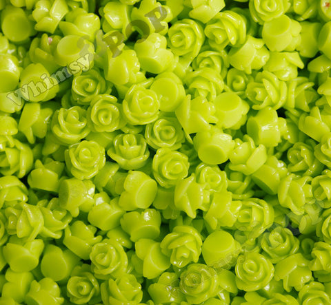 LIME GREEN 7mm Teeny Tiny Flower Cabochons - WhimsyandPOP