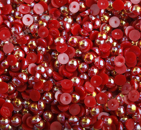 DEEP RED 8mm AB Flatback Pearl Cabochons - WhimsyandPOP