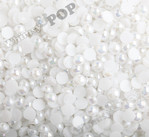 WHITE 8mm AB Flatback Pearl Cabochons - WhimsyandPOP