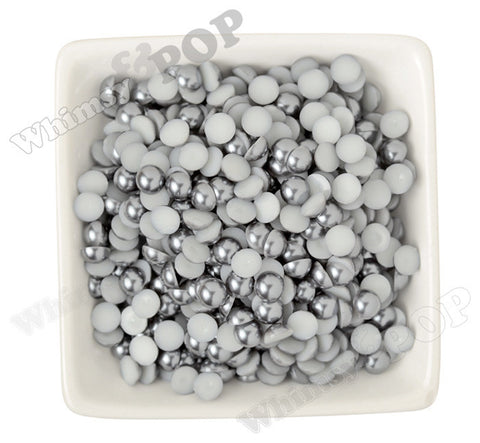 SILVER GRAY 8mm Flatback Pearl Cabochons - WhimsyandPOP