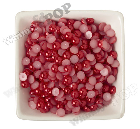 RED 8mm Flatback Pearl Cabochons - WhimsyandPOP