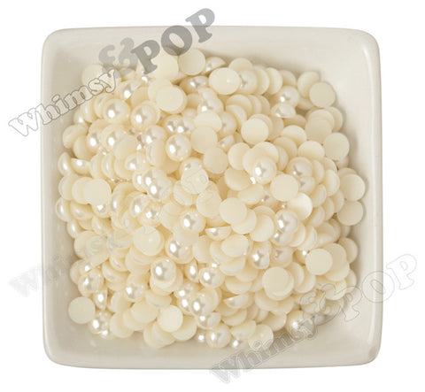 IVORY 8mm Flatback Pearl Cabochons - WhimsyandPOP