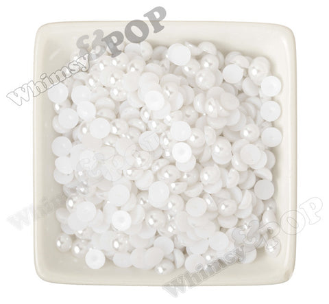 WHITE 8mm Flatback Pearl Cabochons - WhimsyandPOP