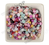 MIXED Color 8mm Flatback Pearl Cabochons - WhimsyandPOP