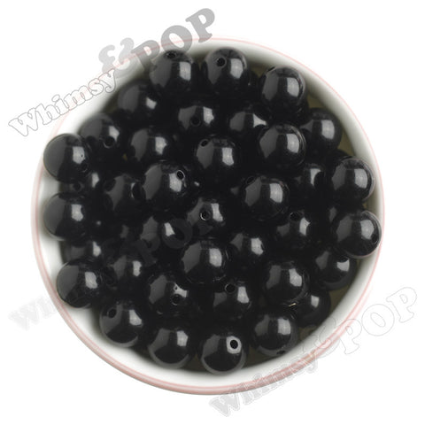 BLACK 16mm Solid Gumball Beads - WhimsyandPOP