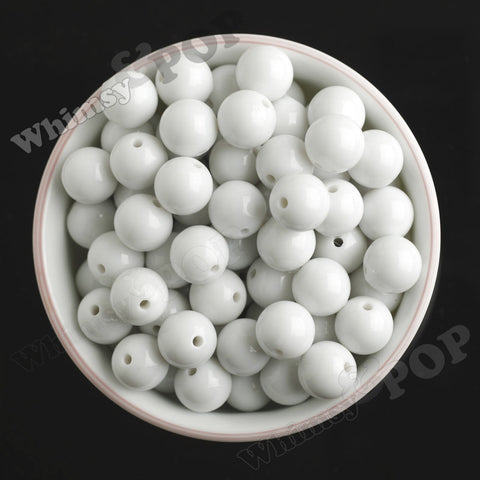 WHITE 16mm Solid Gumball Beads - WhimsyandPOP