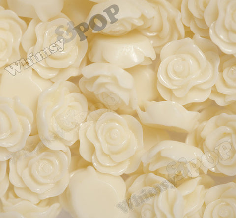 YELLOW IVORY 13mm Classic Rose Flower Cabochons - WhimsyandPOP