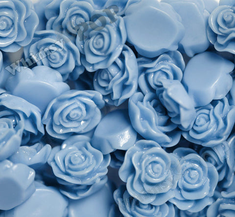 CORNFLOWER BLUE 13mm Classic Rose Flower Cabochons - WhimsyandPOP