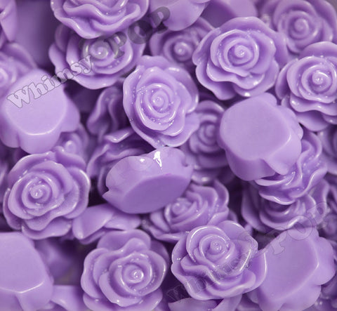 LAVENDER PURPLE 13mm Classic Rose Flower Cabochons - WhimsyandPOP