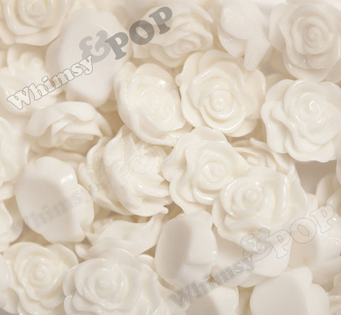 CREAM WHITE 13mm Classic Rose Flower Cabochons - WhimsyandPOP