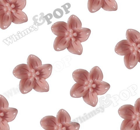 CORAL 13mm Lily Flower Cabochons - WhimsyandPOP