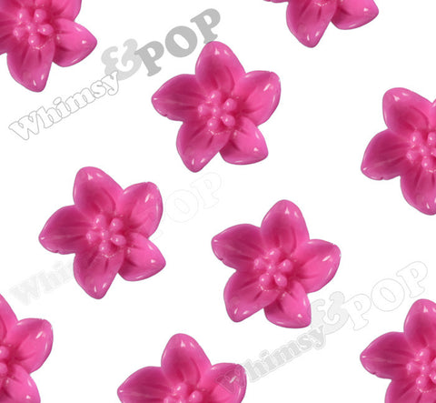 HOT PINK 13mm Lily Flower Cabochons - WhimsyandPOP