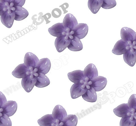 LAVENDER PURPLE 13mm Lily Flower Cabochons - WhimsyandPOP