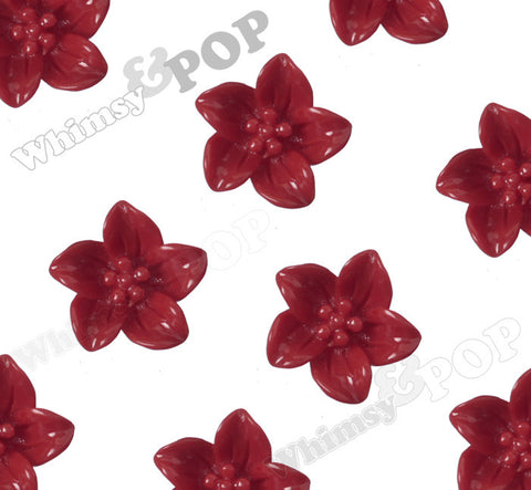 RED 13mm Lily Flower Cabochons - WhimsyandPOP