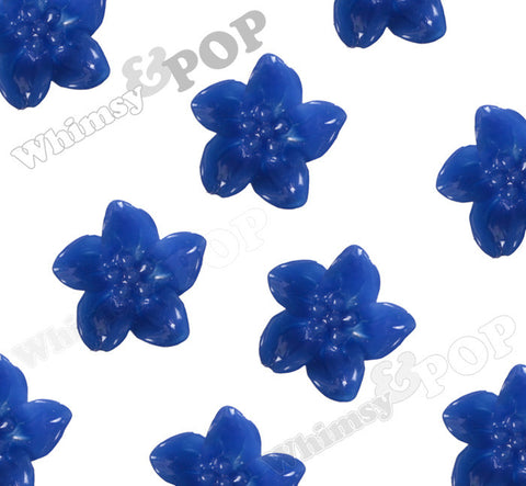 ROYAL BLUE 13mm Lily Flower Cabochons - WhimsyandPOP