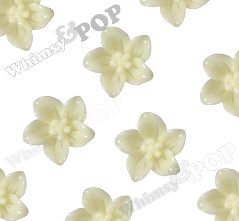 PALE YELLOW IVORY 13mm Lily Flower Cabochons - WhimsyandPOP