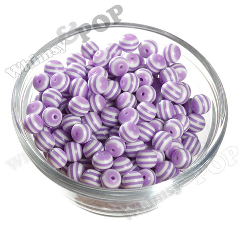 PURPLE 10mm Striped Gumball Beads