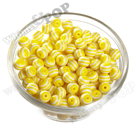 YELLOW 10mm Striped Gumball Beads - WhimsyandPOP