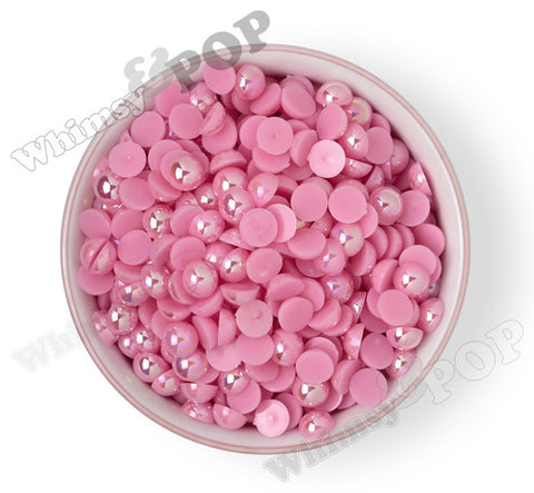 BUBBLEGUM PINK 10mm AB Flatback Pearl Cabochons - WhimsyandPOP