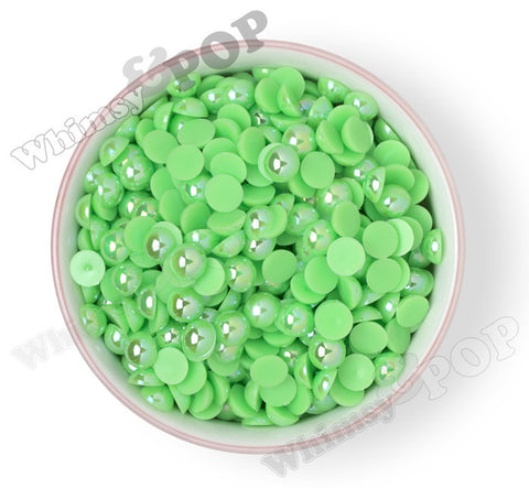 GREEN 10mm AB Flatback Pearl Cabochons - WhimsyandPOP