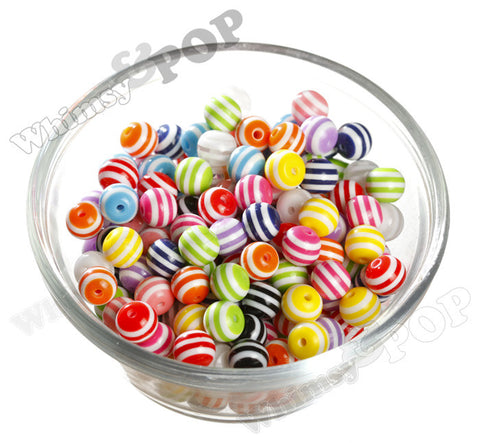MIXED Color 10mm Striped Gumball Beads
