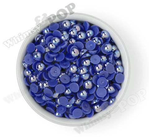 ROYAL BLUE 10mm AB Flatback Pearl Cabochons - WhimsyandPOP