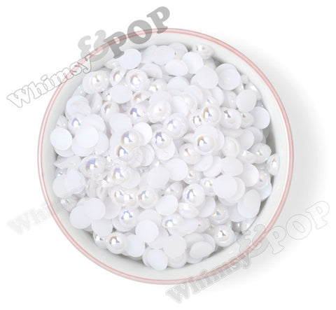 WHITE 10mm AB Flatback Pearl Cabochons - WhimsyandPOP