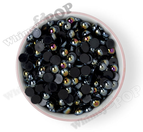 BLACK 10mm AB Flatback Pearl Cabochons - WhimsyandPOP